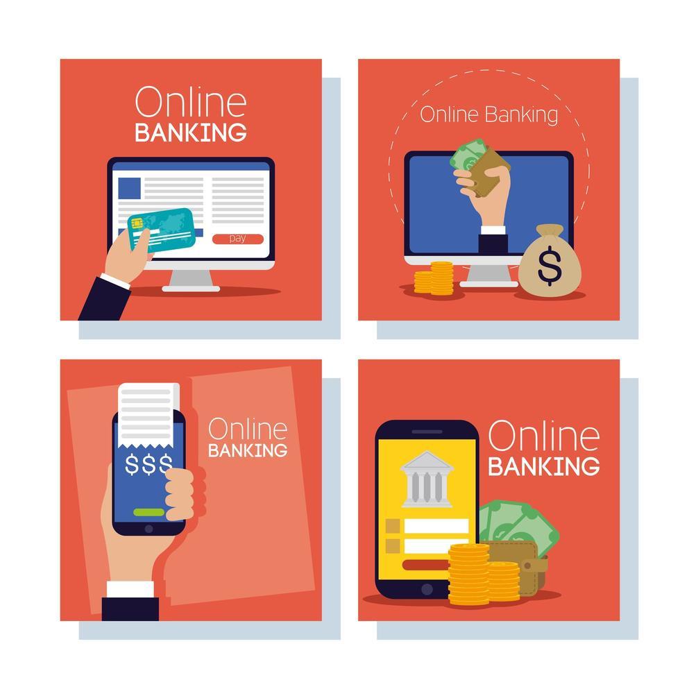 tecnología de banca online con dispositivos electrónicos vector