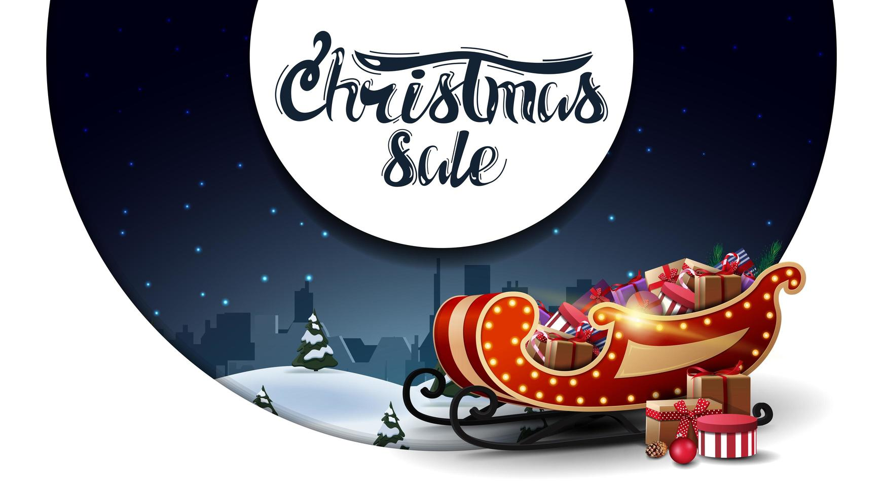 White discount banner with winter landscape and Santa Sleigh vector
