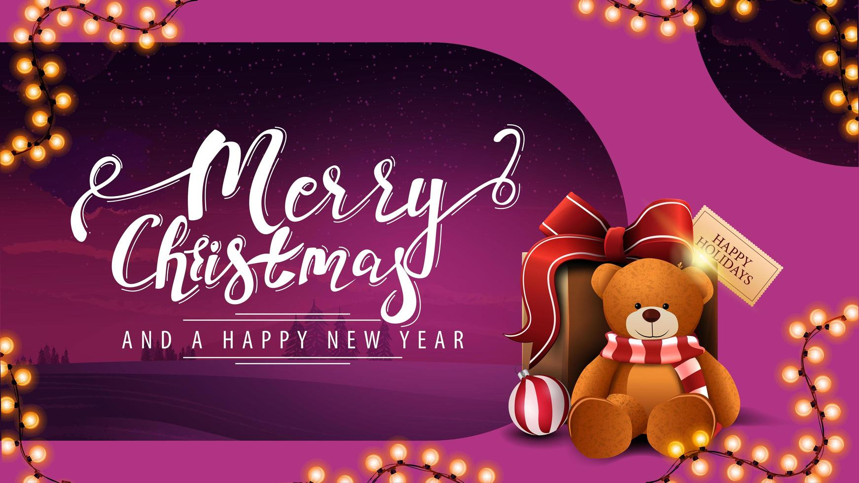 Postcard with garland and present with Teddy bear vector