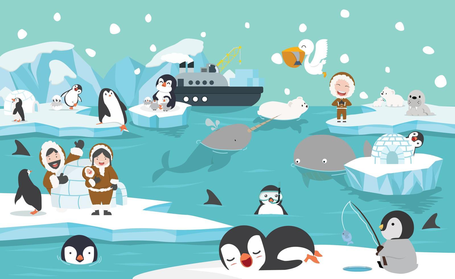animales y personas árticas en un entorno invernal. vector