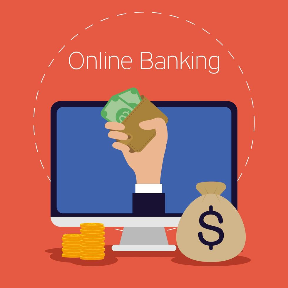 tecnología de banca en línea con computadora de escritorio vector