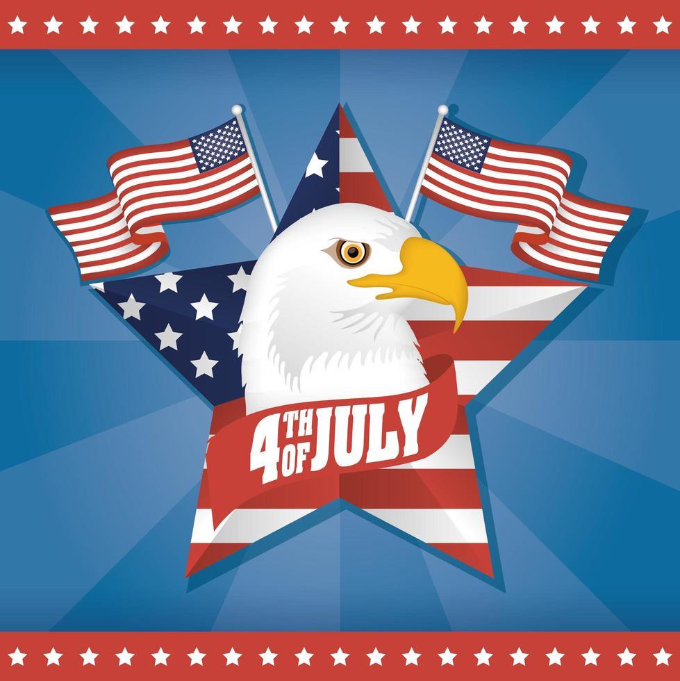 día de la independencia de estados unidos con banderas y cabeza de águila vector