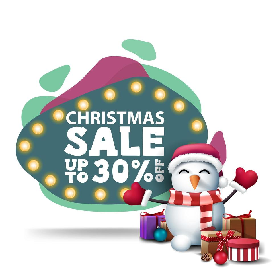 Green discount banner with bulb lights and snowman vector