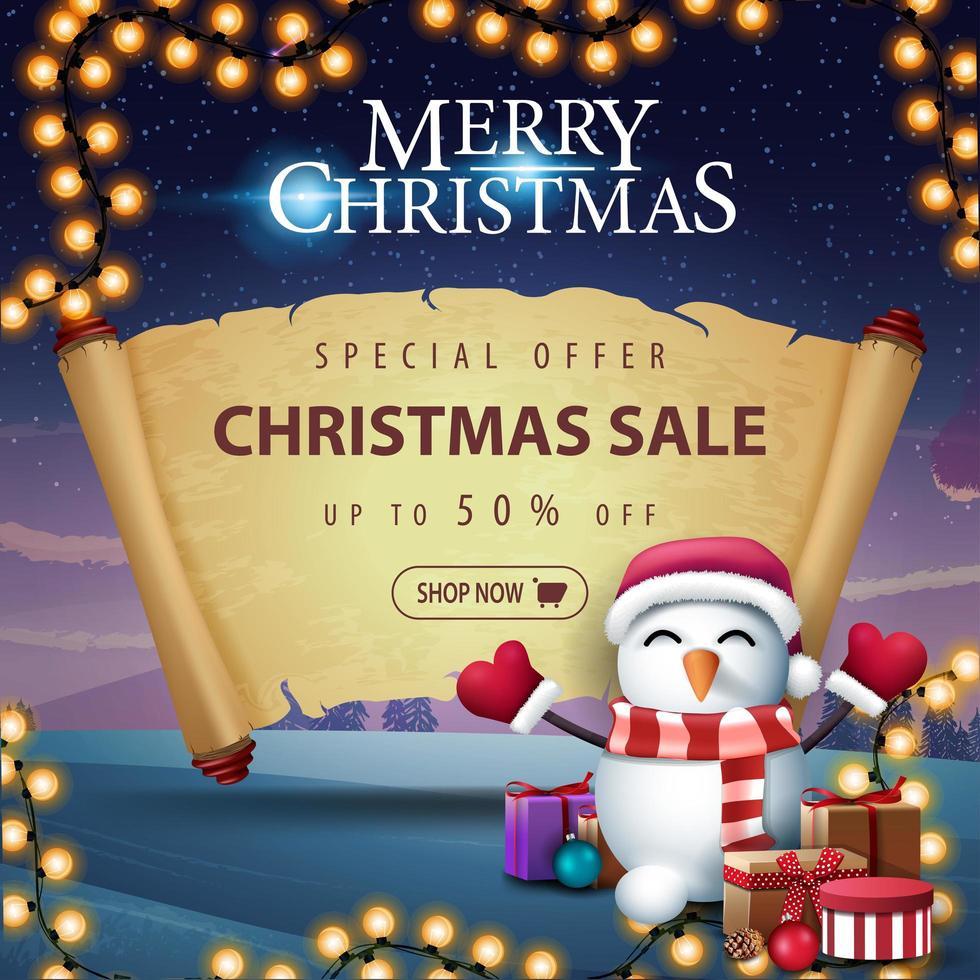 venta de navidad con muñeco de nieve en sombrero de santa claus vector