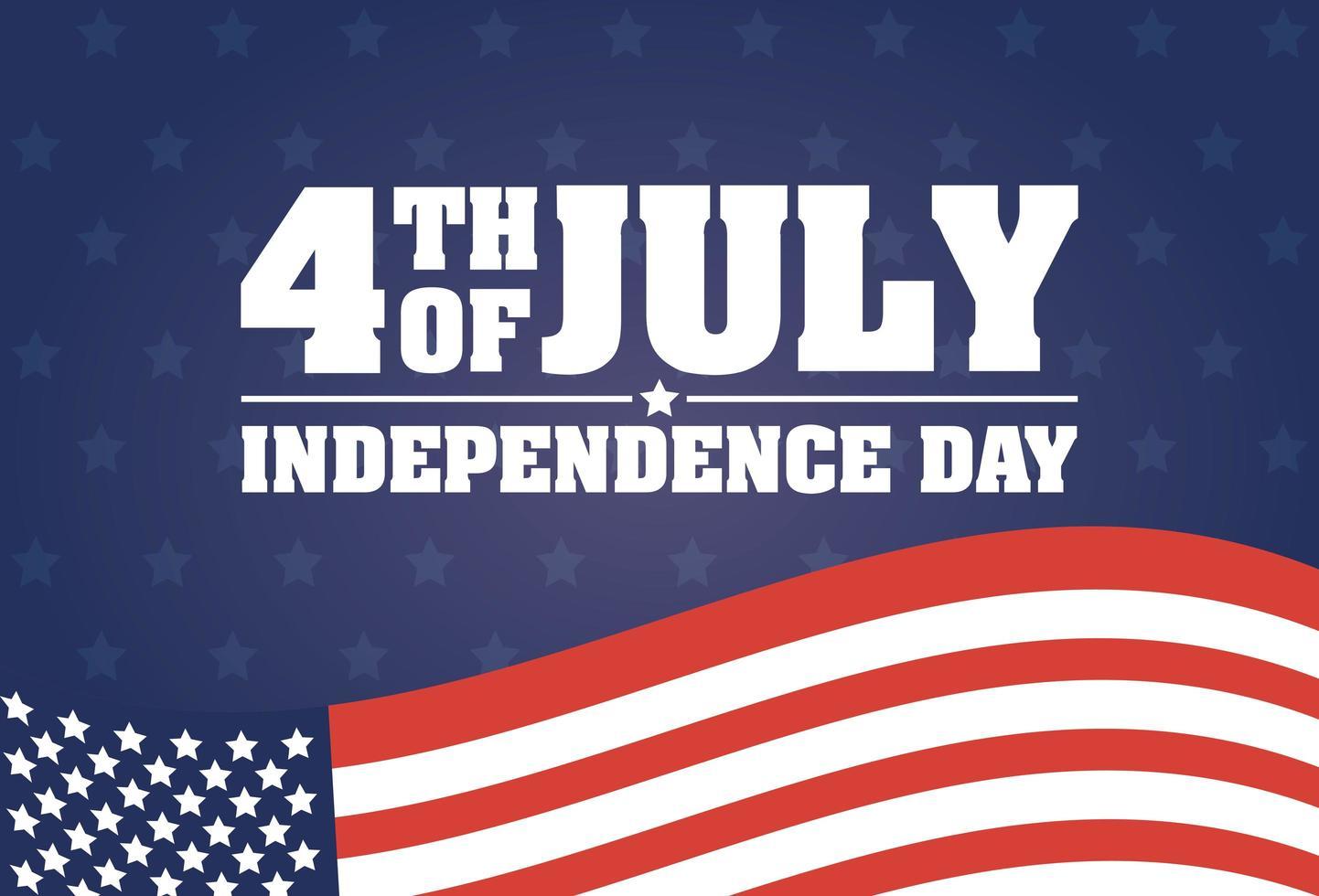 Bandera de celebración del día de la independencia de Estados Unidos con bandera vector