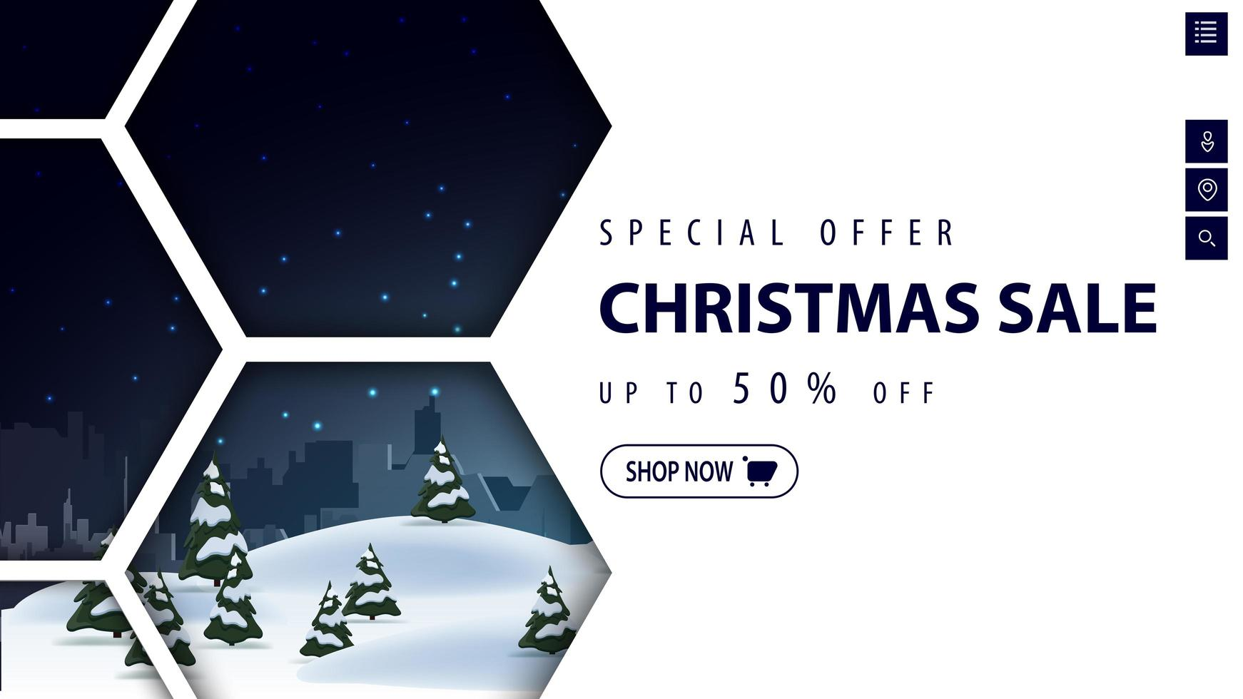 White discount banner with winter night landscape vector