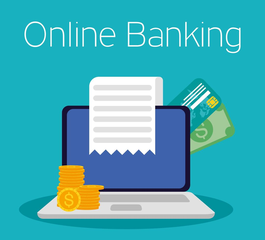 Online banking technology with laptop vector
