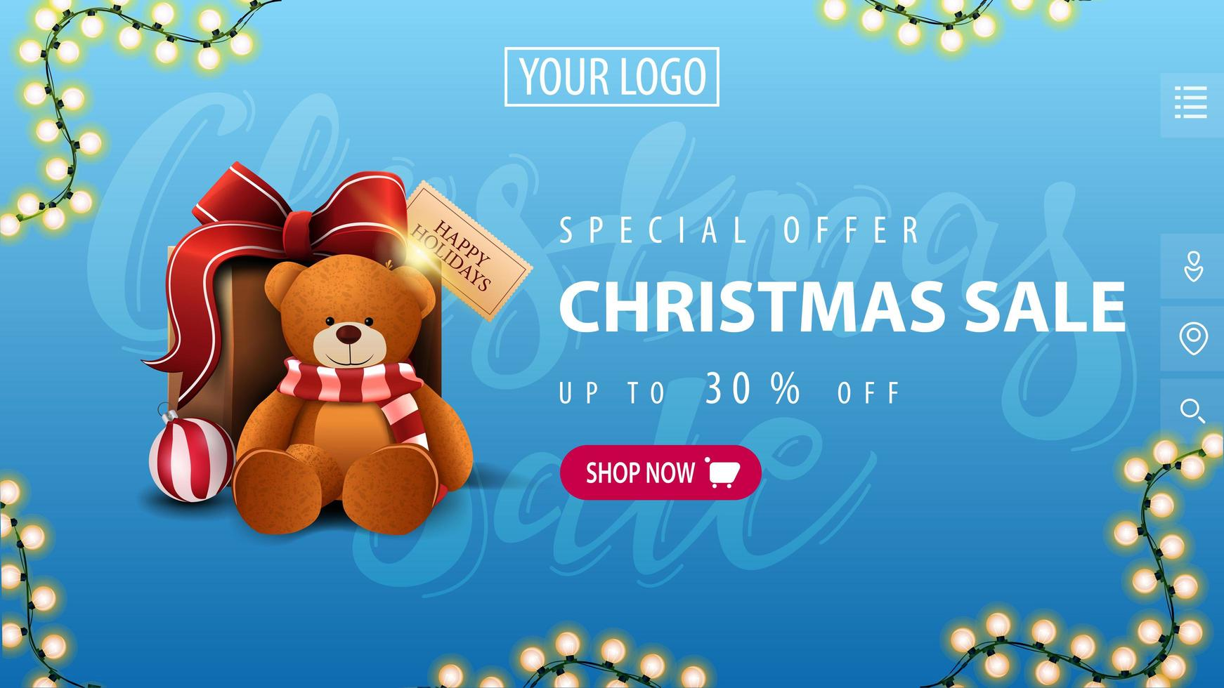 Blue discount banner with pink button and garland vector