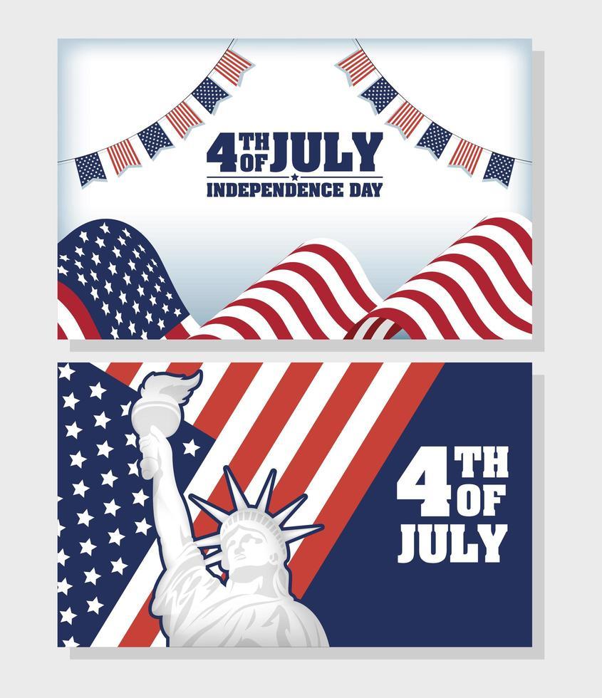 conjunto de banners de celebración del día de la independencia de estados unidos vector