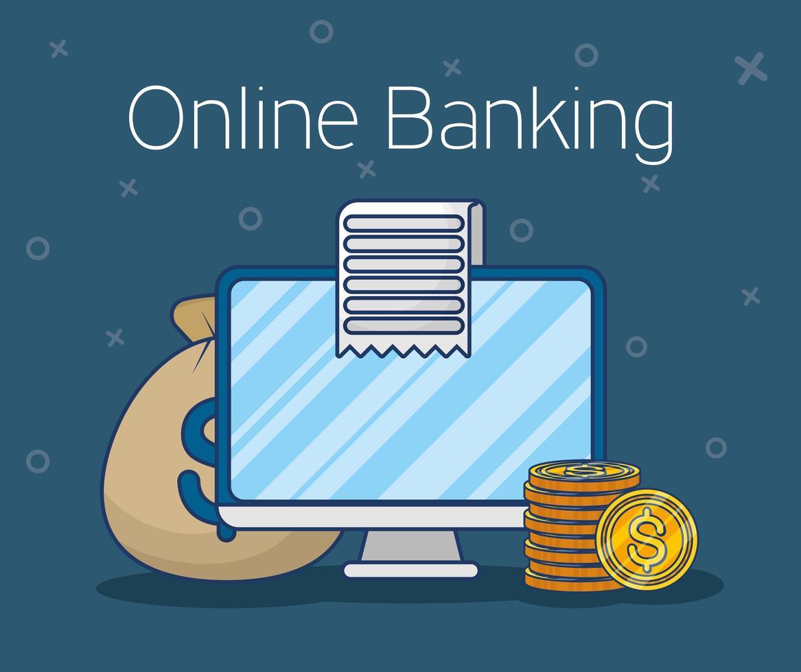 Online banking technology with desktop computer vector