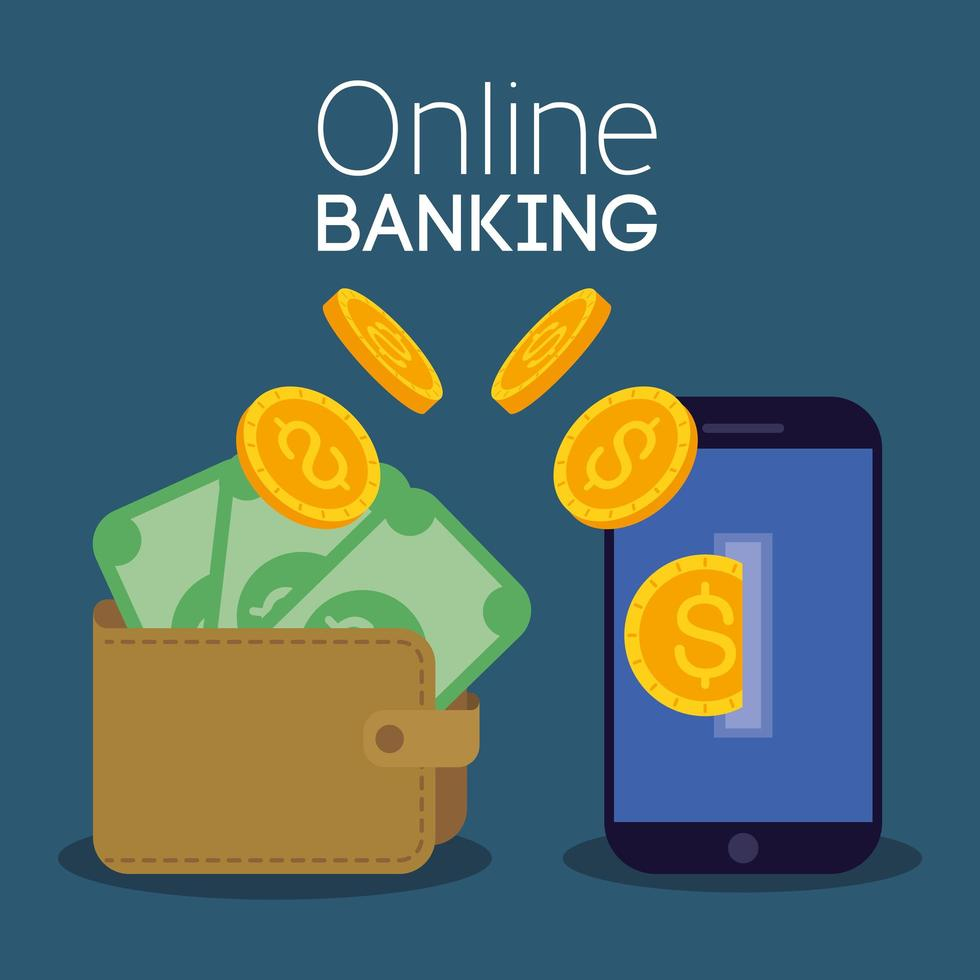 Online banking technology with smartphone vector