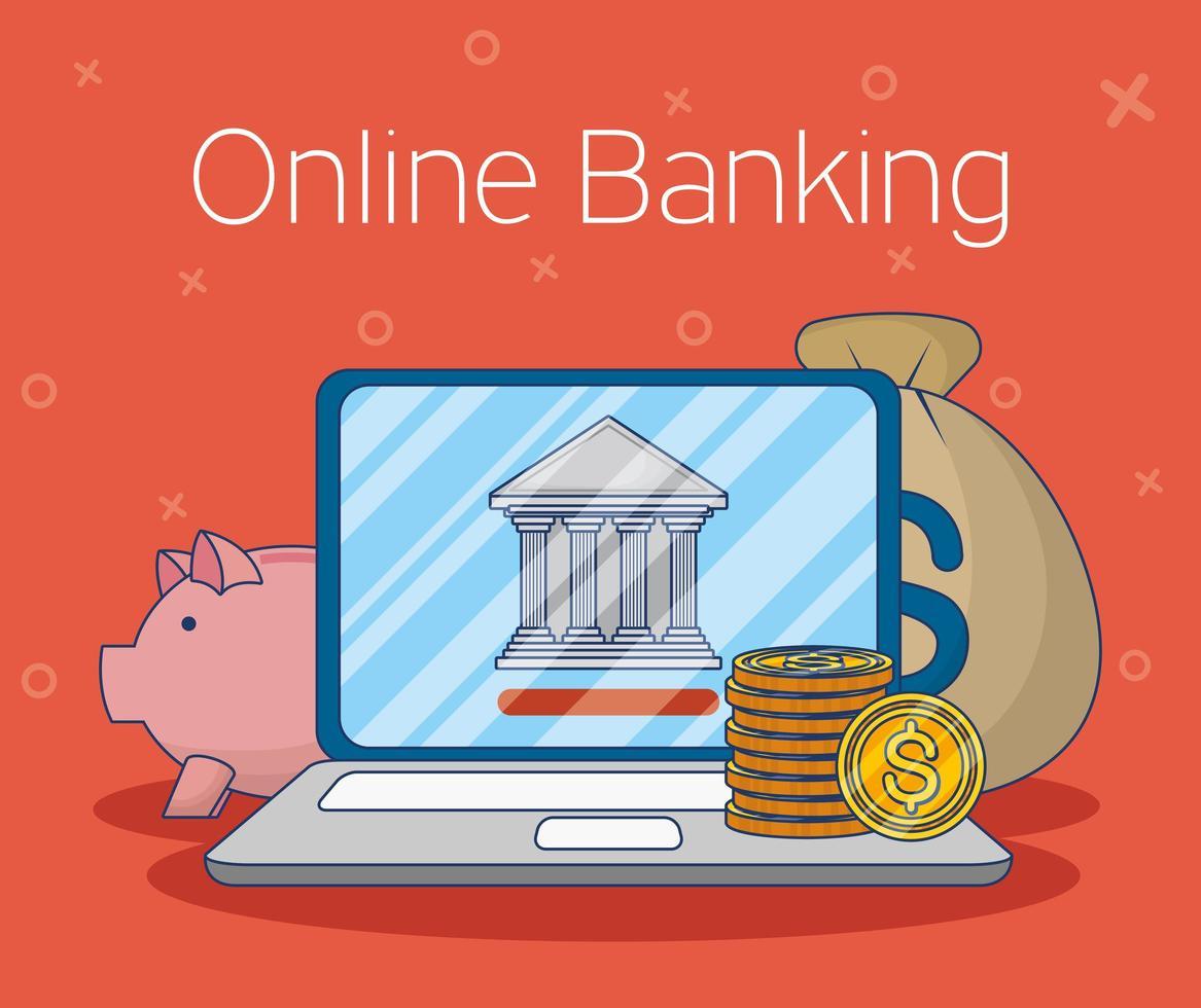 tecnología de banca online con laptop vector