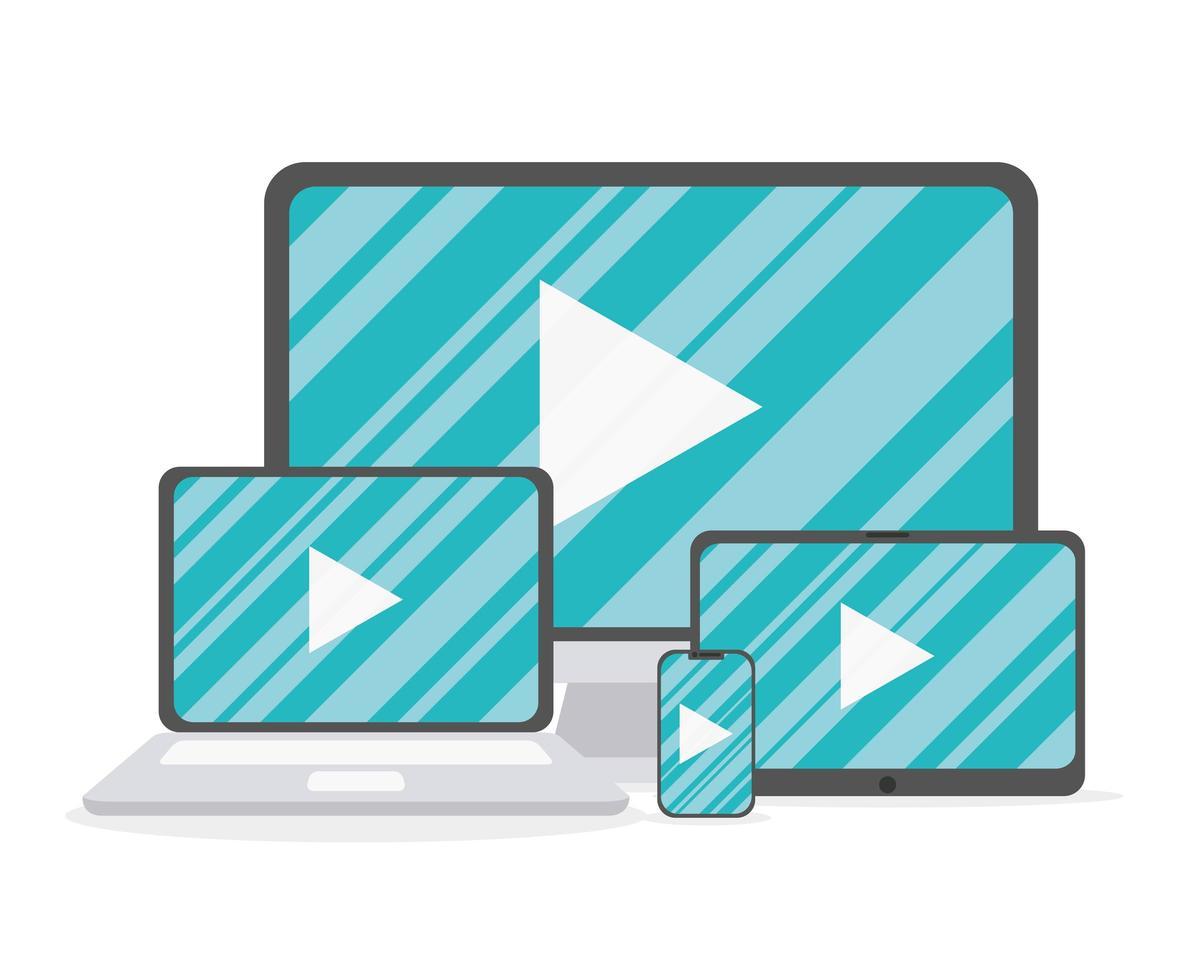 Dispositivos electrónicos con conjunto de iconos de botón de reproductor multimedia vector