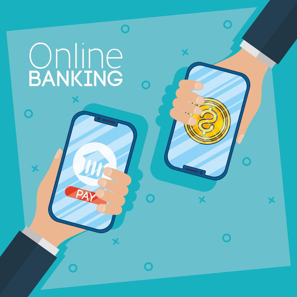 Online banking technology with desktop smartphones vector