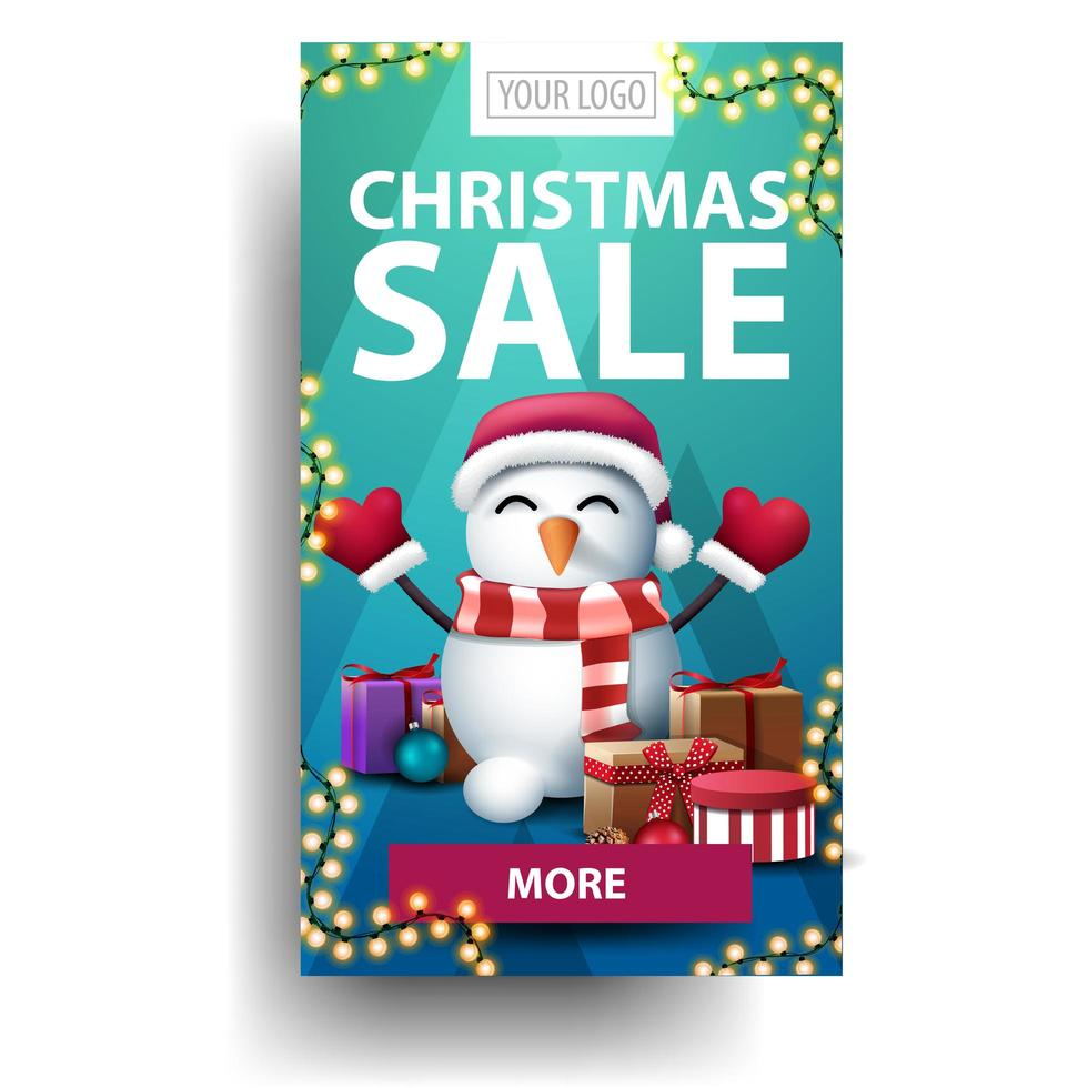 Discount banner with purple button and snowman vector