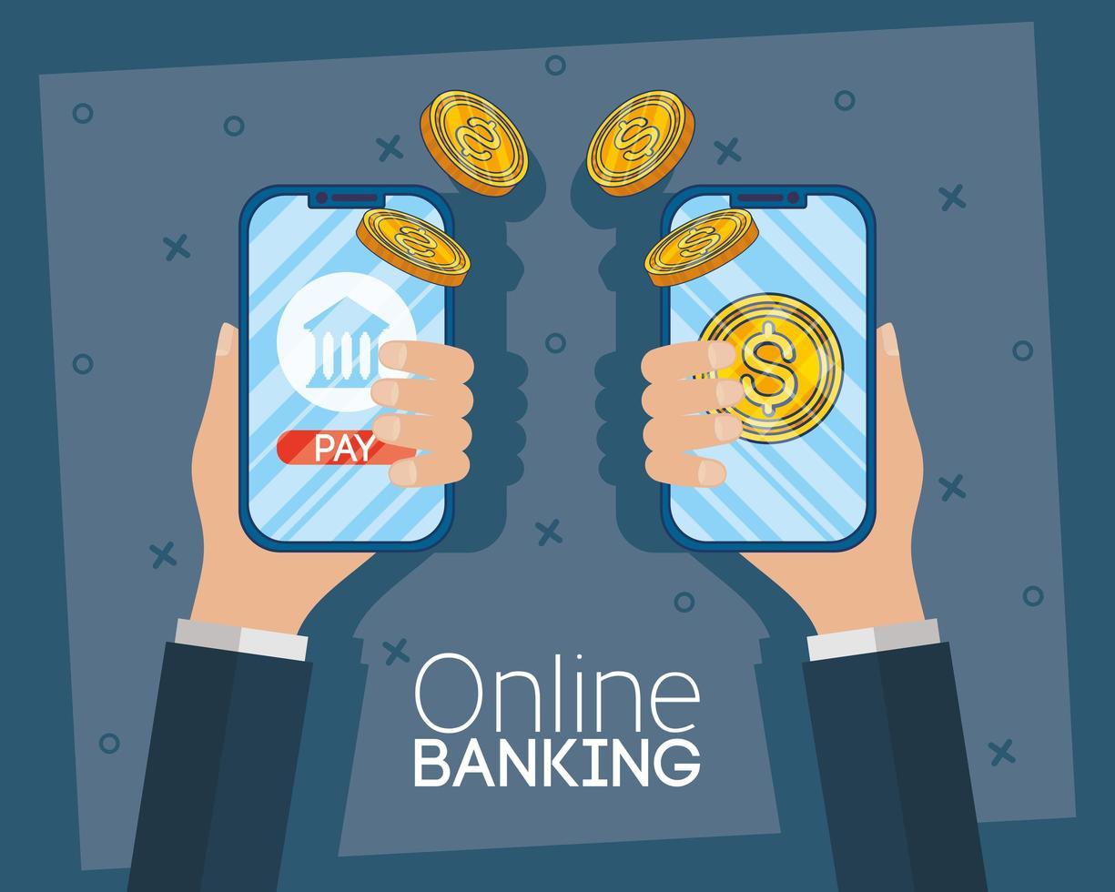 Online banking technology with desktop smartphones vector