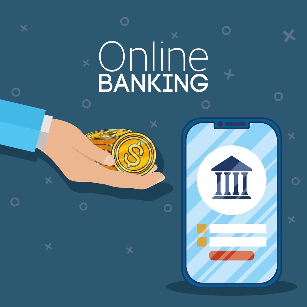 tecnología de banca online con smartphone vector