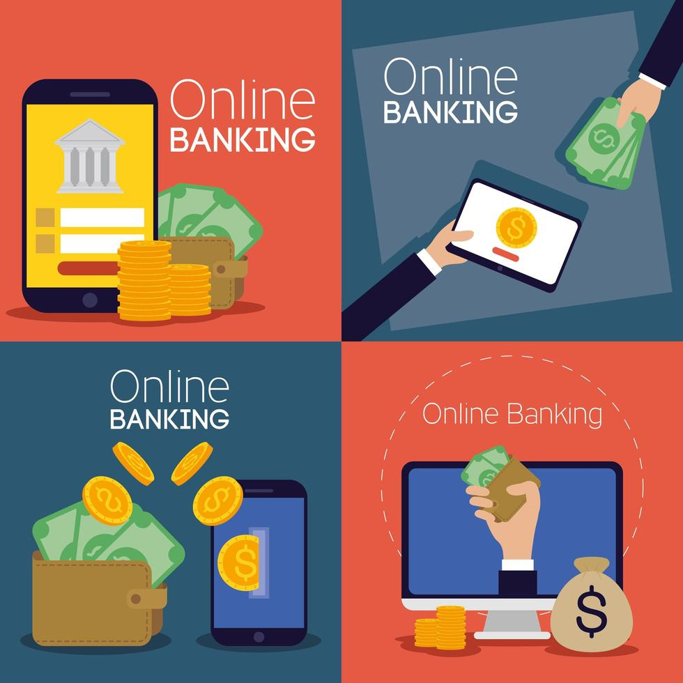Online banking technology with electronic devices vector