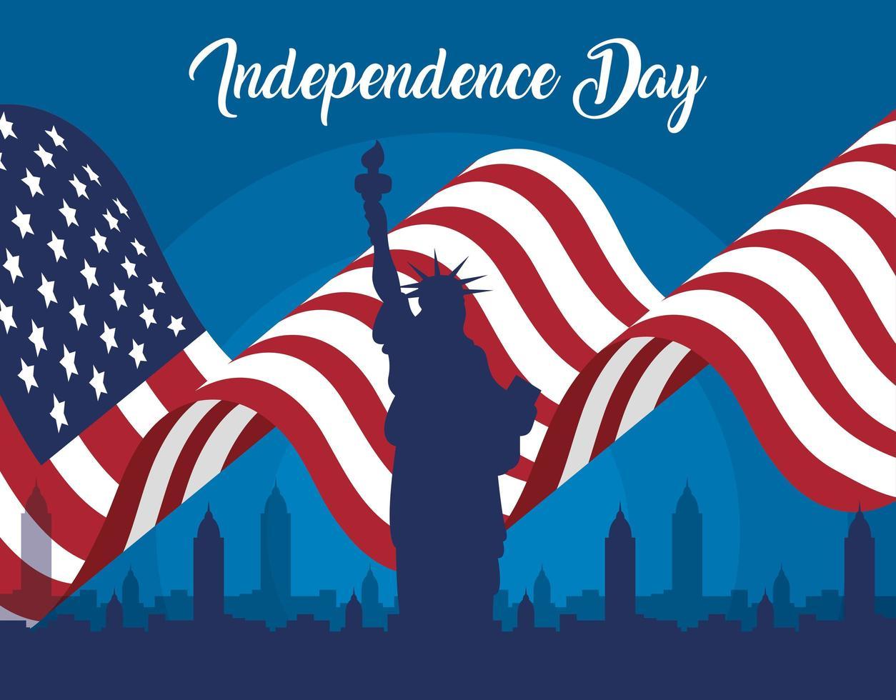 Bandera del día de la independencia de Estados Unidos con la estatua de la libertad vector