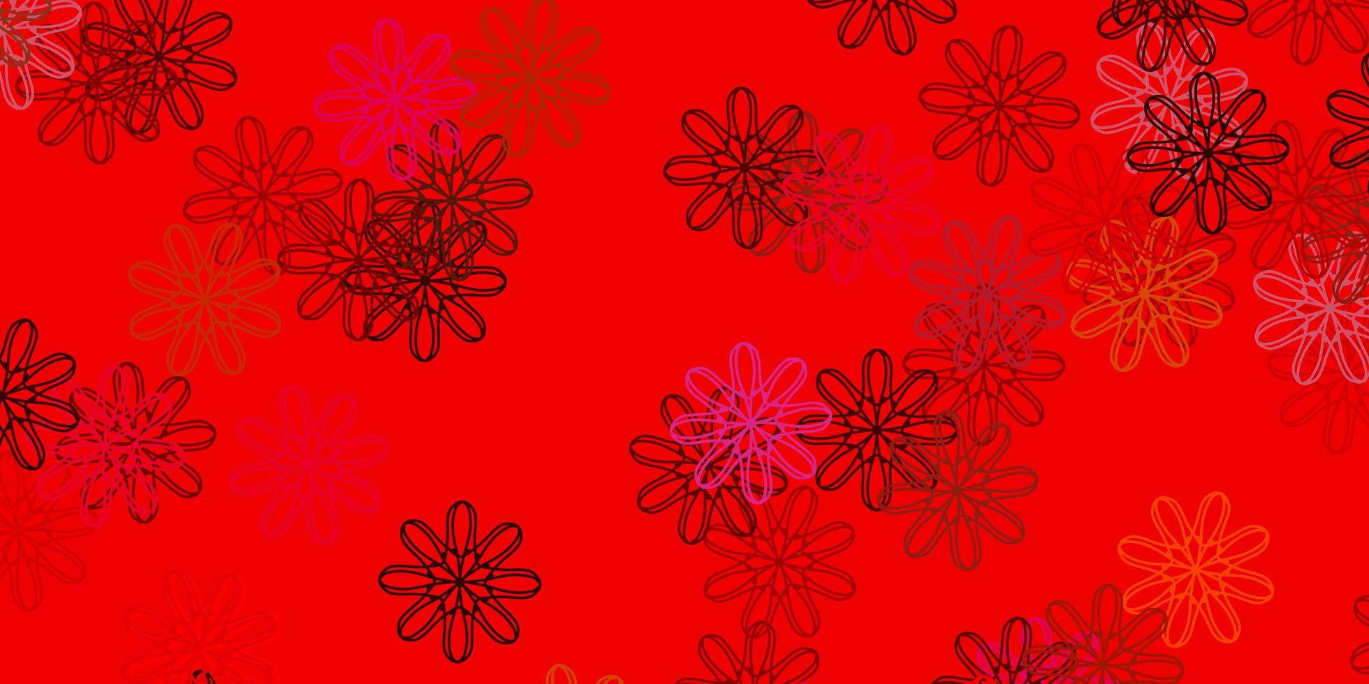 Red doodle pattern with flowers. vector