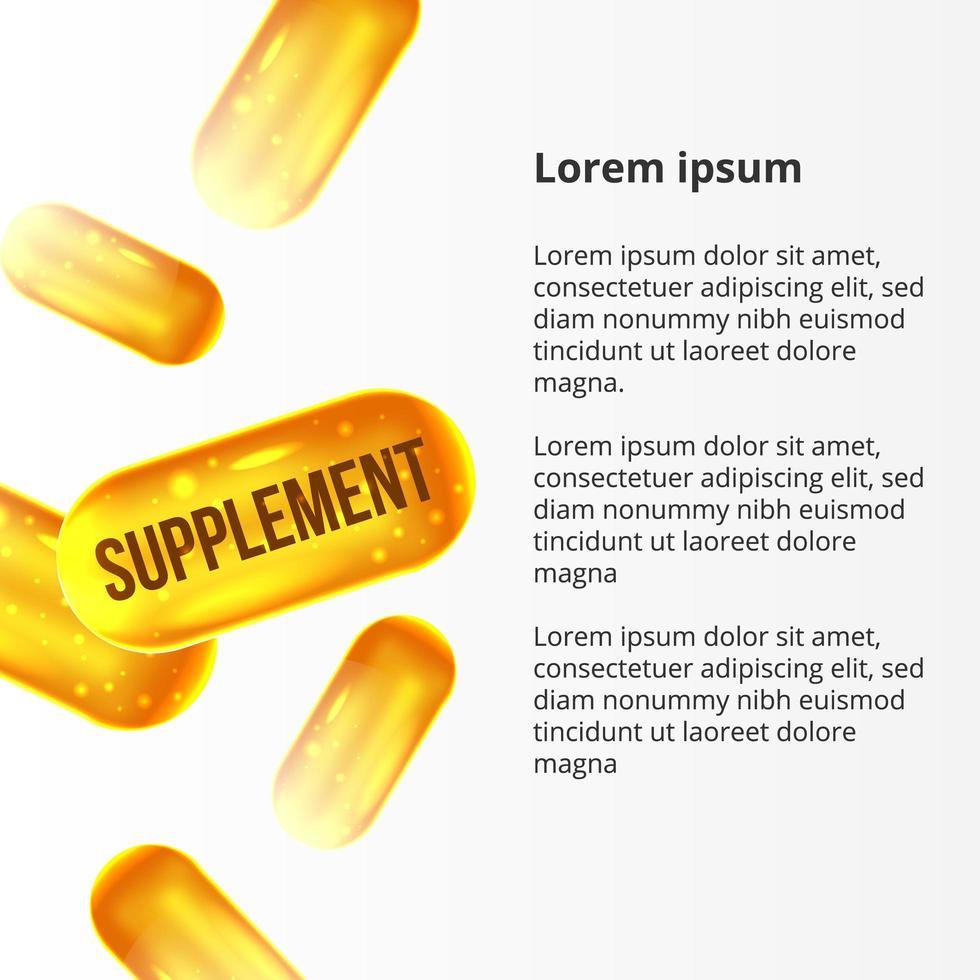 Suplemento 3d pastillas de oro amarillo para el cuidado de la salud. vector