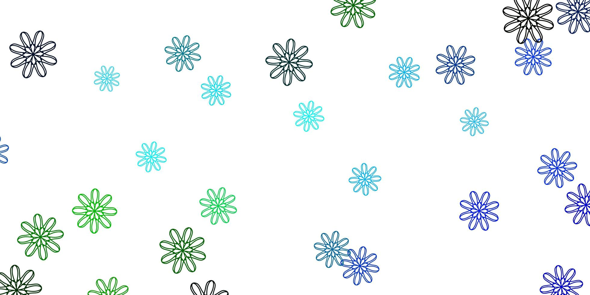 Light Blue, Green natural artwork with flowers. vector