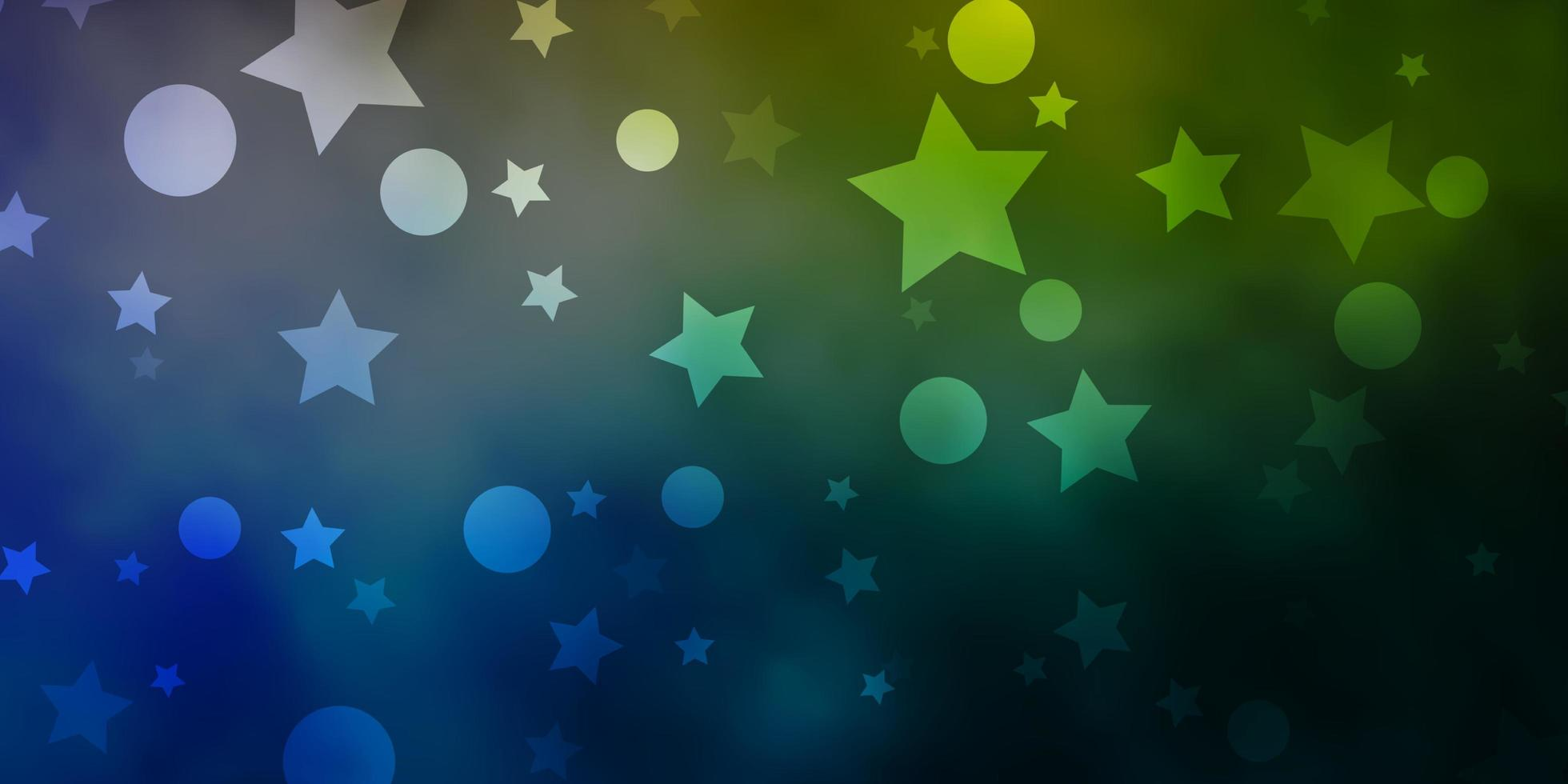Blue, green background with circles, stars. vector