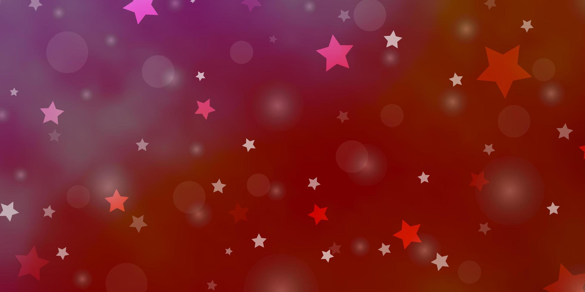 Red texture with circles, stars. vector