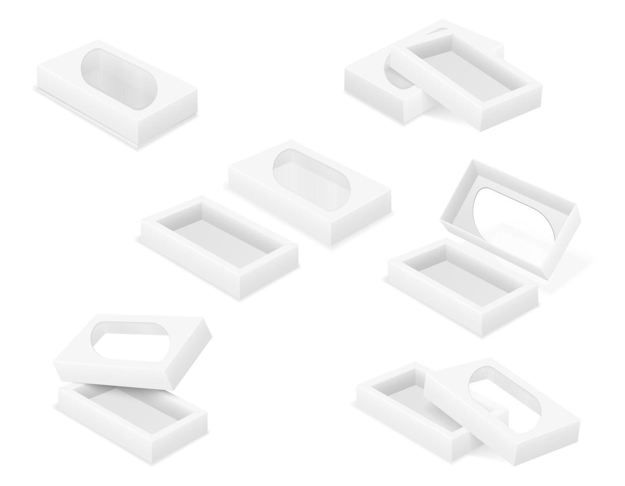 caja de cartón vacía embalaje conjunto de plantillas en blanco vector