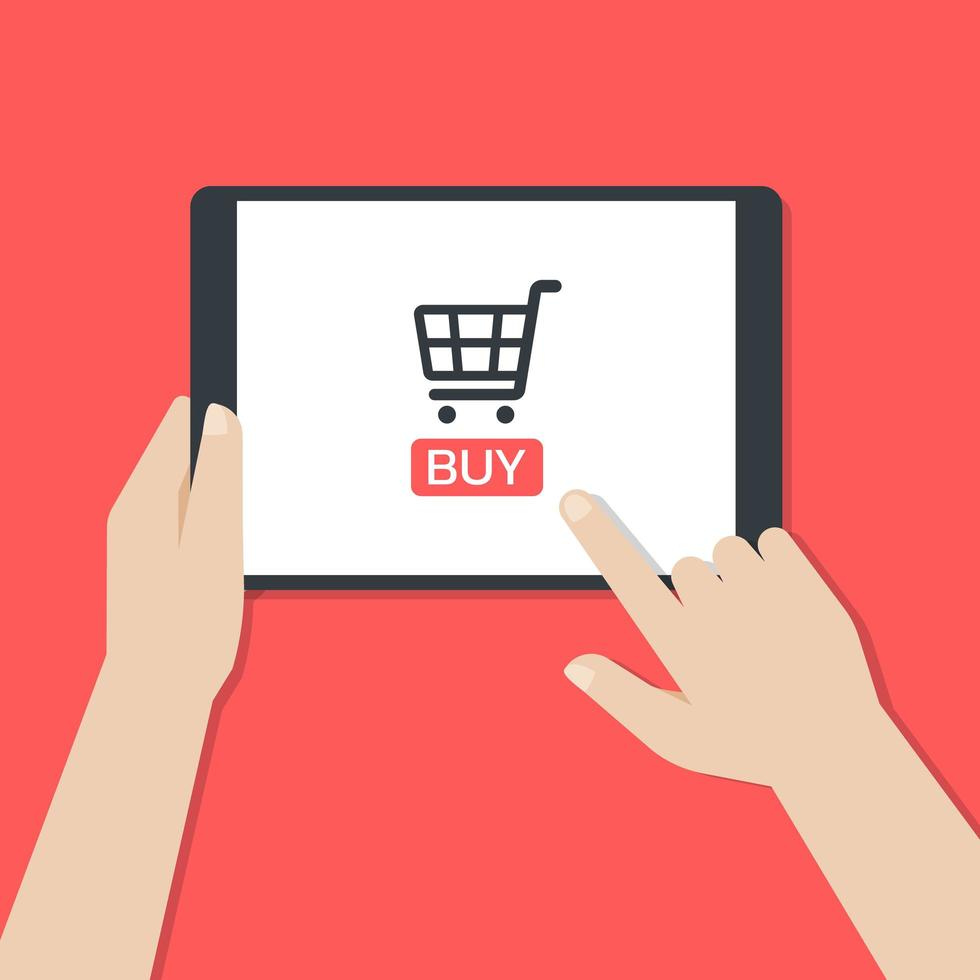 Hands holding a tablet and tapping a buy button vector