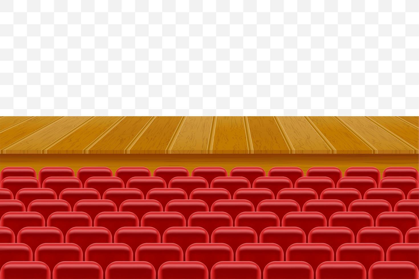 Escenario de teatro con asientos para espectadores. vector
