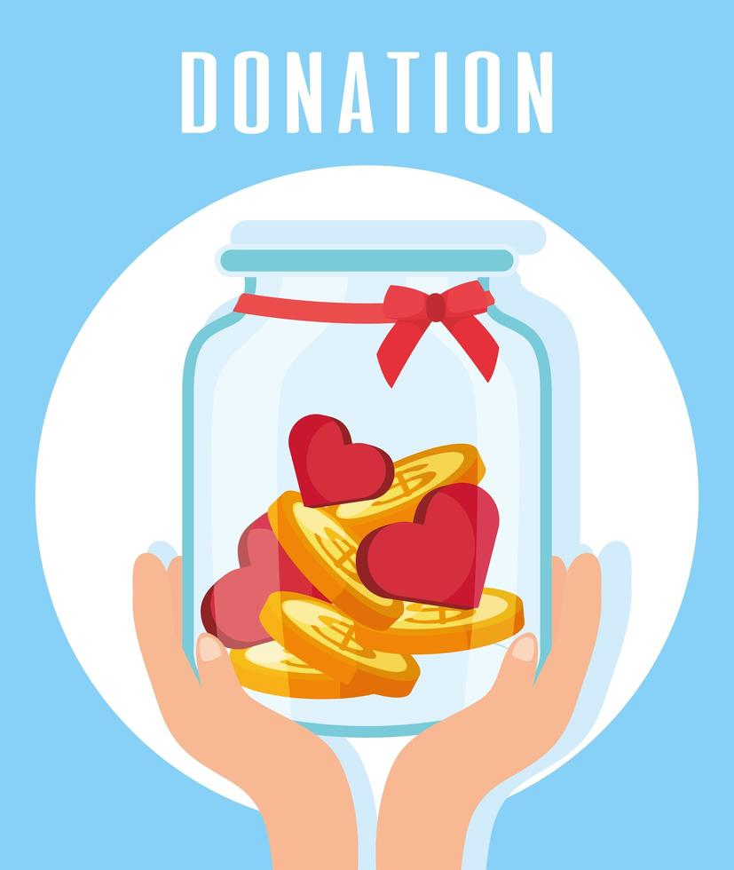 Charity and donation jar with hearts and coins vector