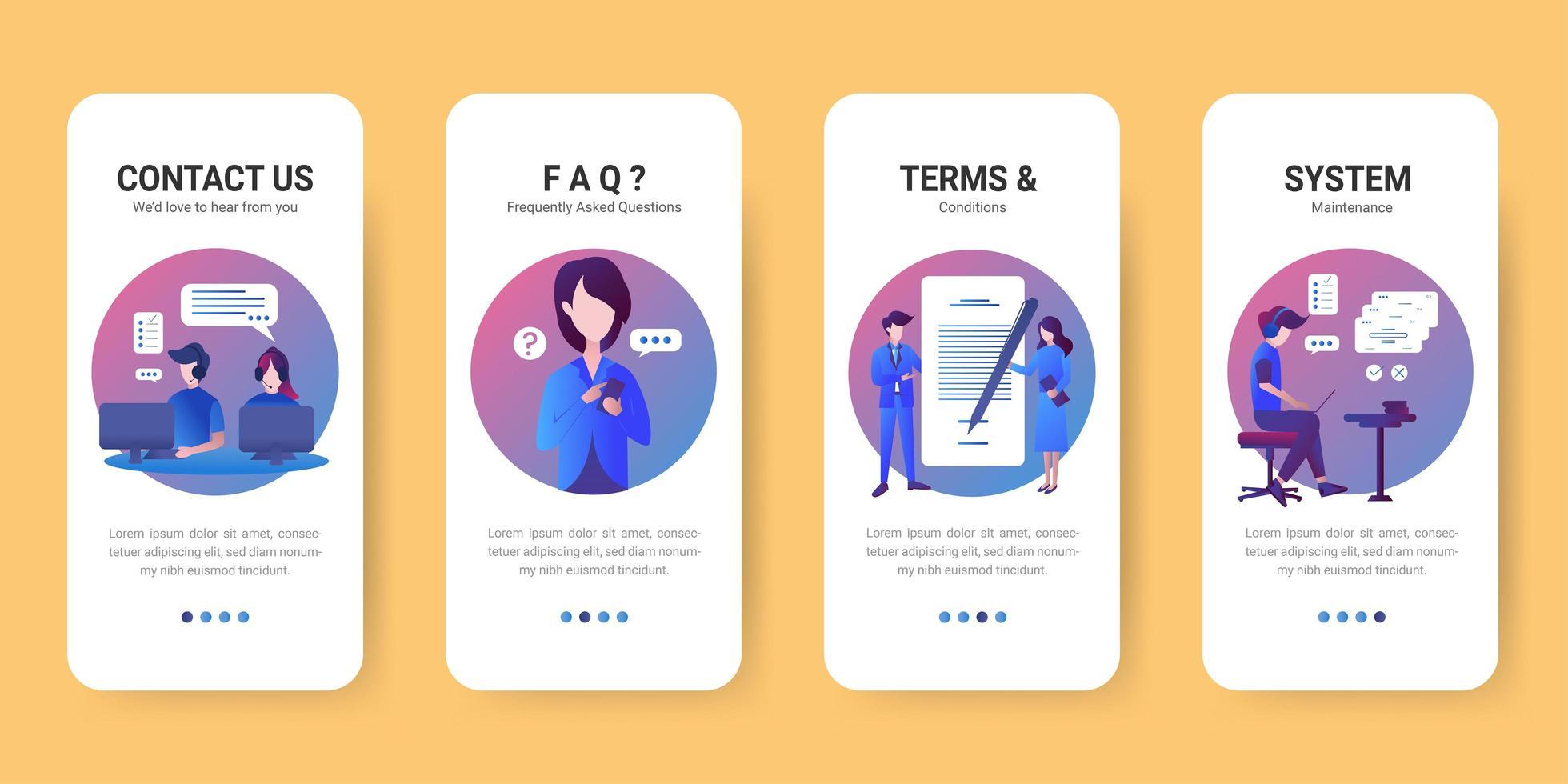 Mobile app screen flat template set vector