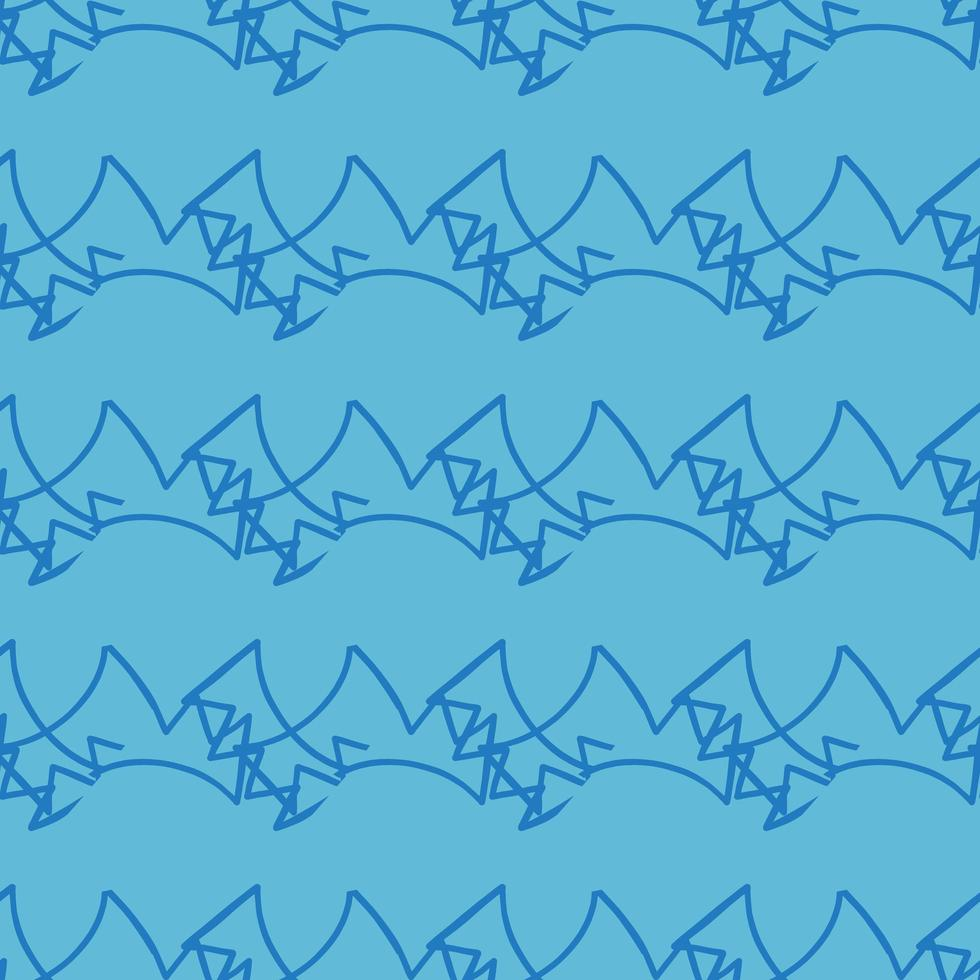 Hand drawn blue scribble lines pattern vector
