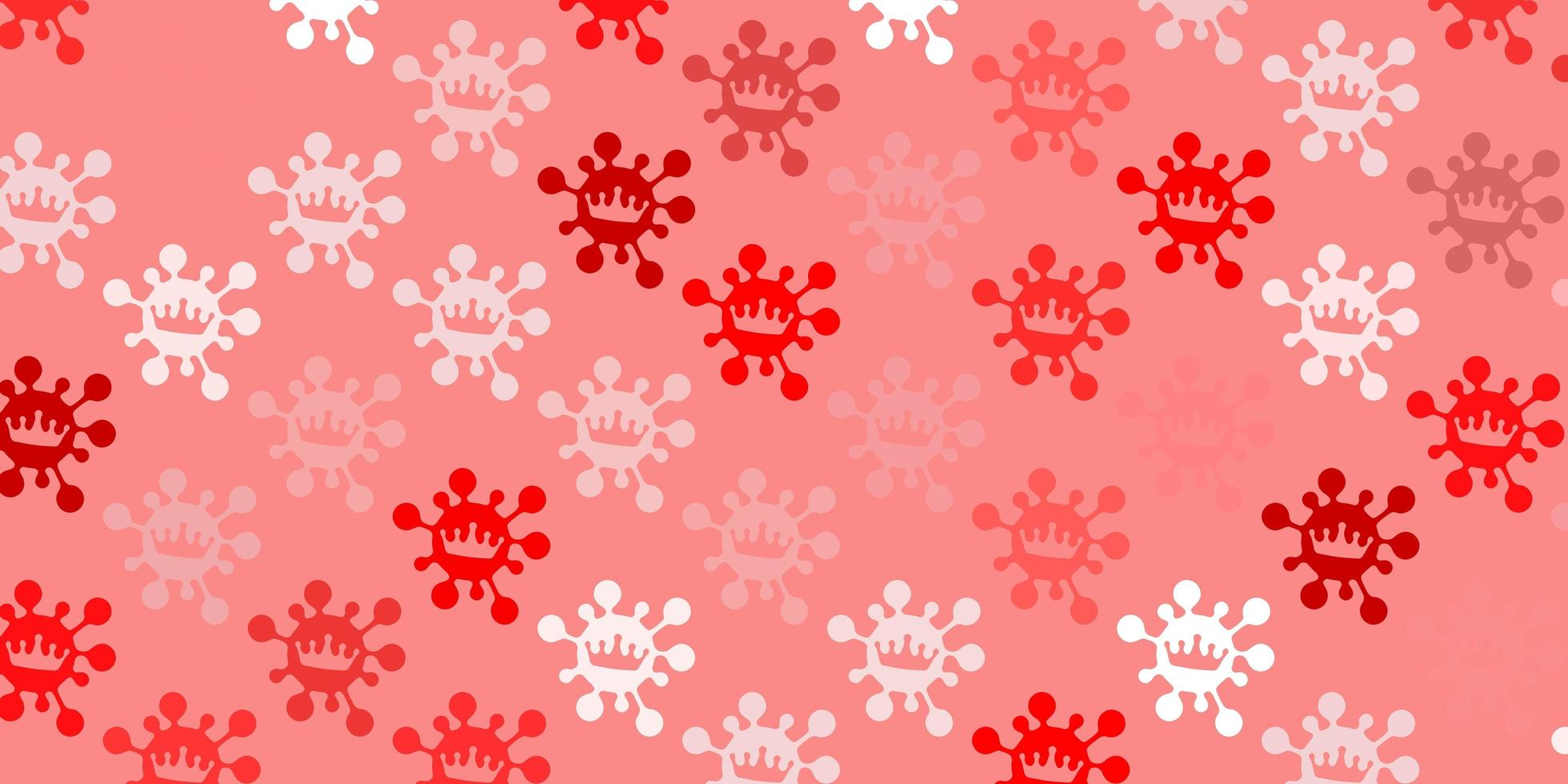 Light red backdrop with virus symbols. vector