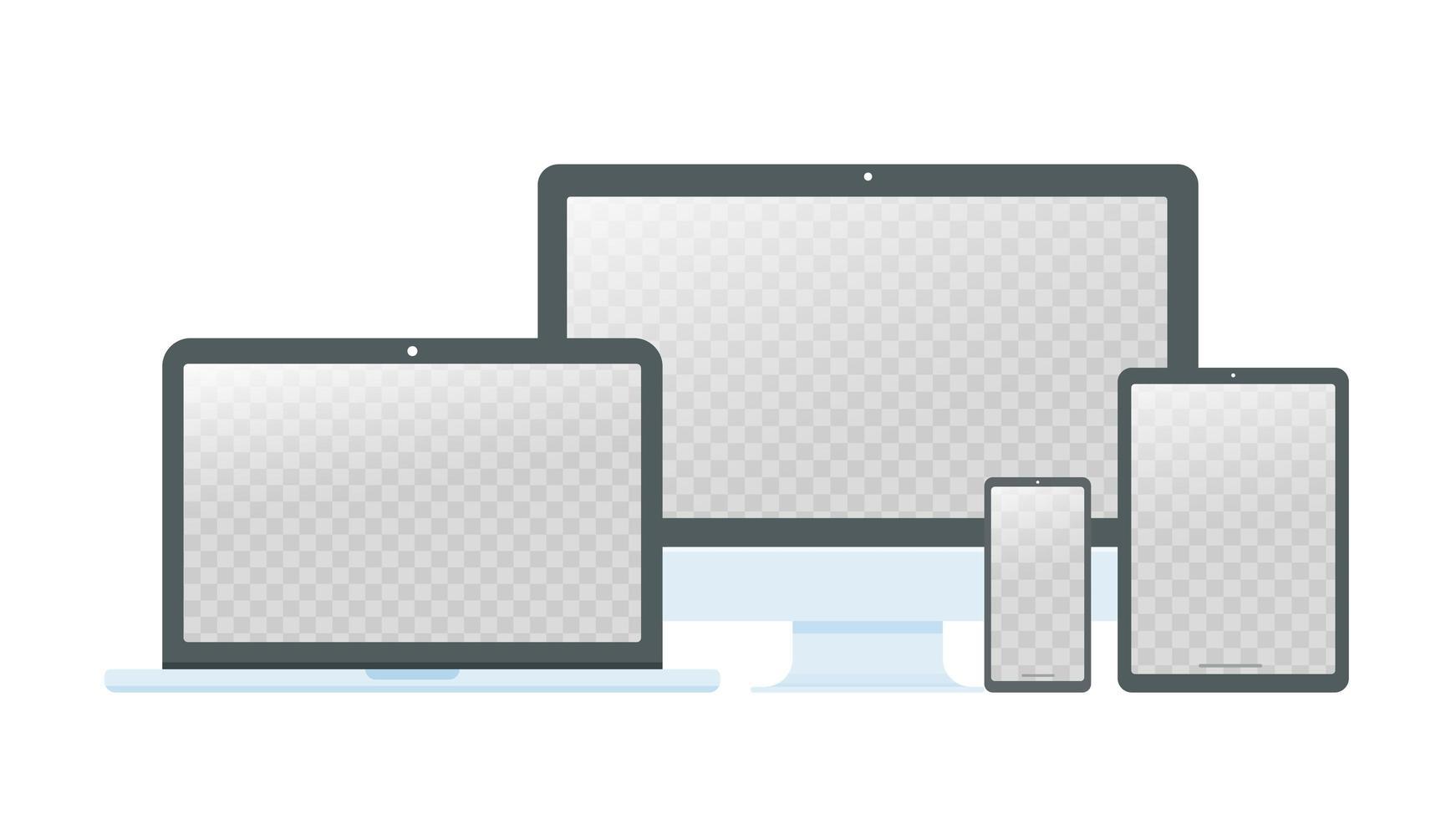 computadora de escritorio, laptop y teléfono inteligente vector