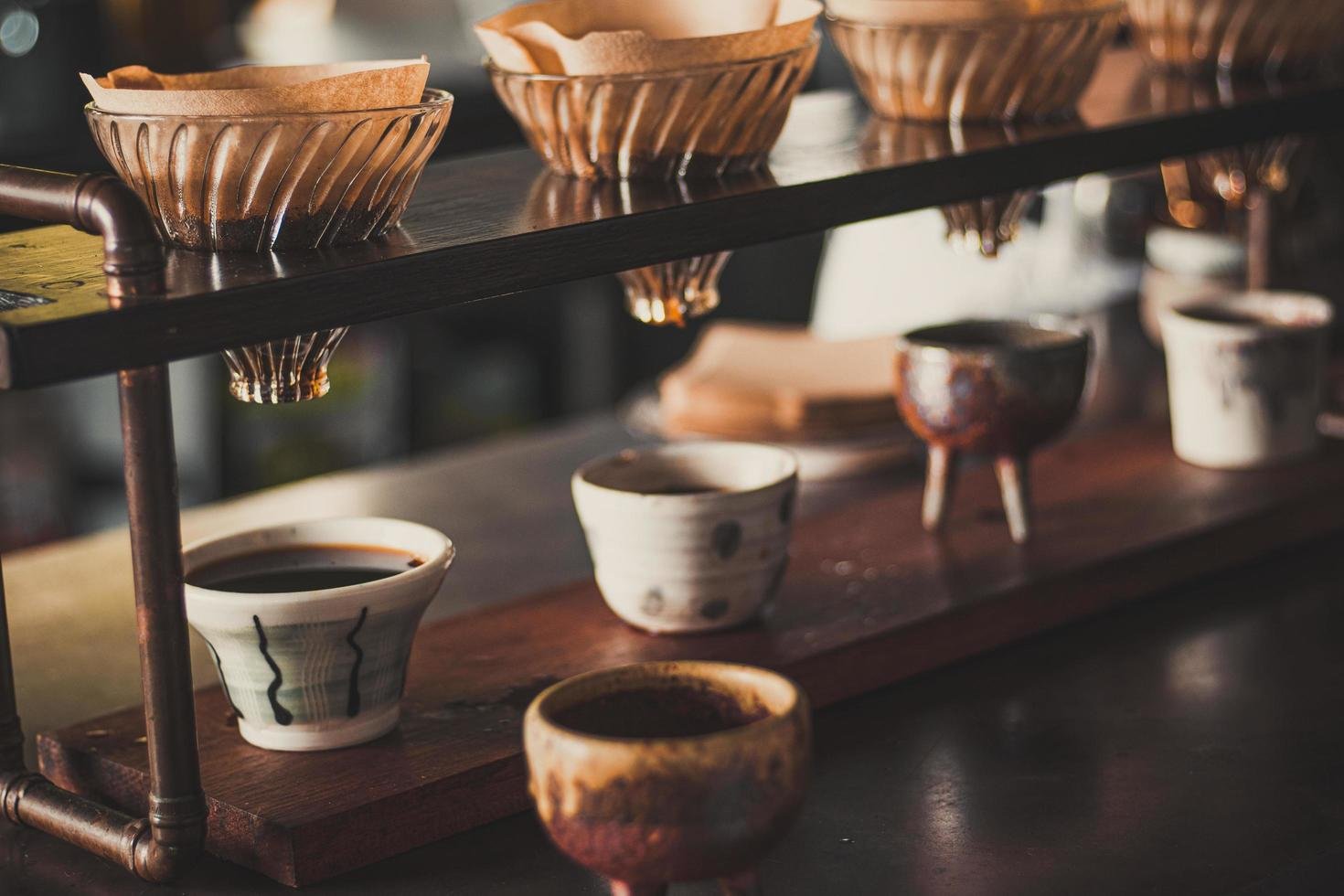 Close-up of pour over coffee photo