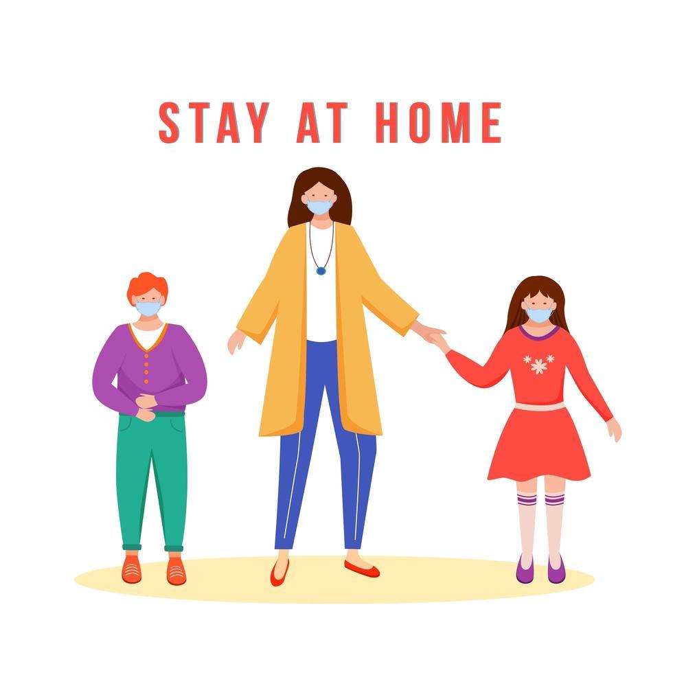 quedarse en casa familia vector