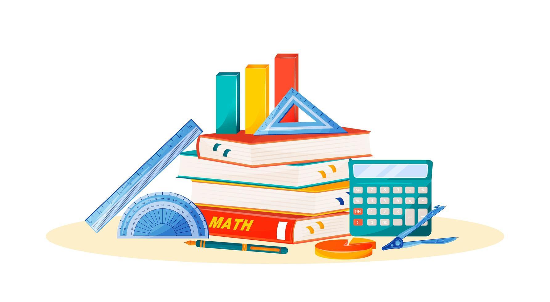 Maths books and supplies vector