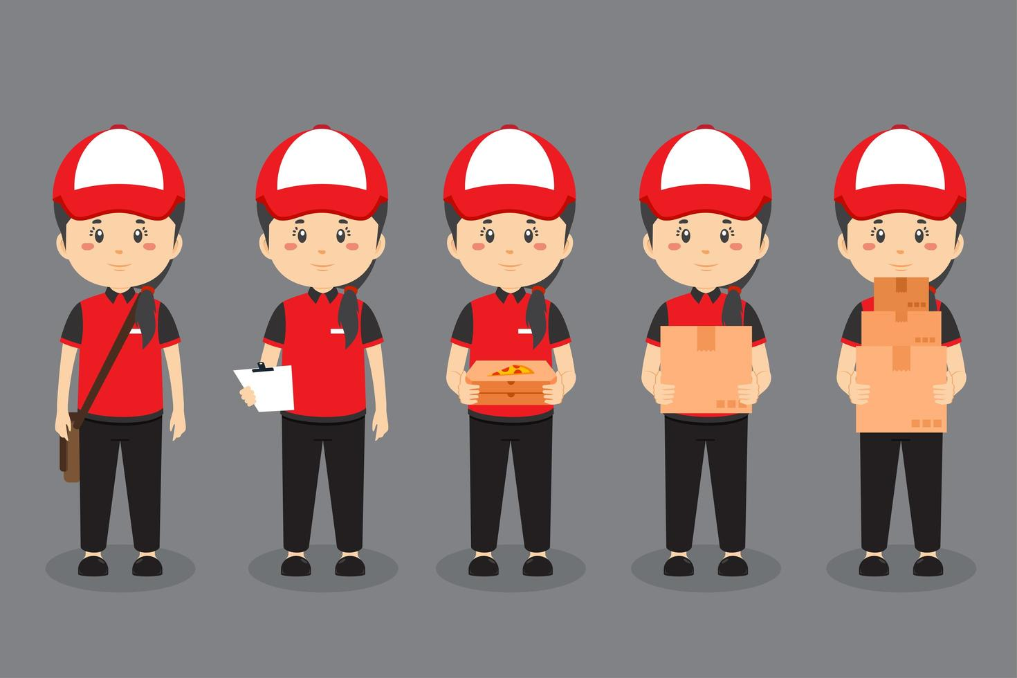 Delivery Character Doing Various Activities vector