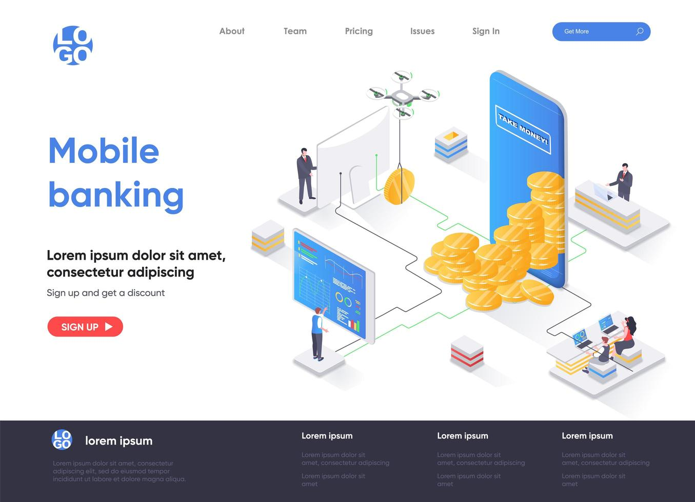 Mobile banking isometric landing page vector