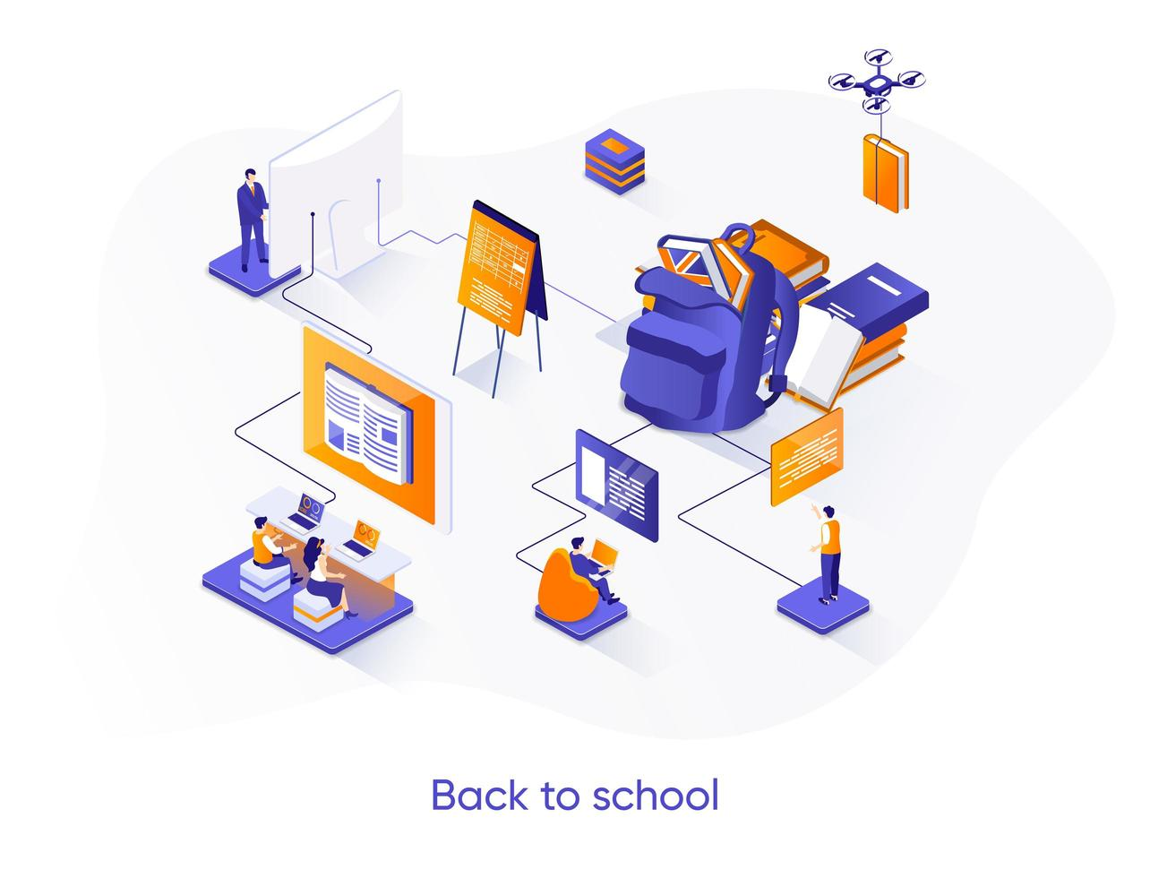 banner web isométrico de regreso a la escuela. vector