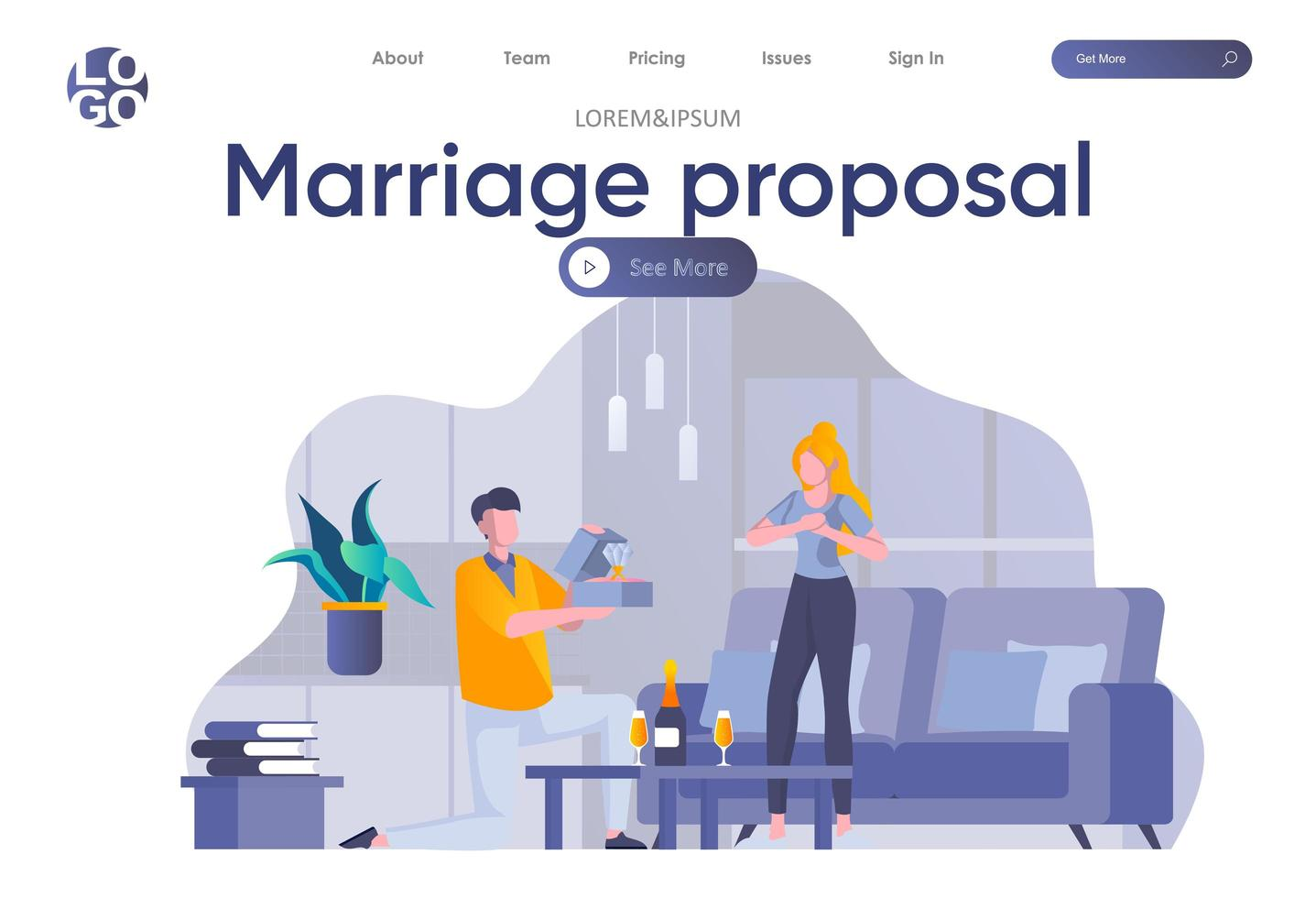 Marriage proposal landing page with header vector