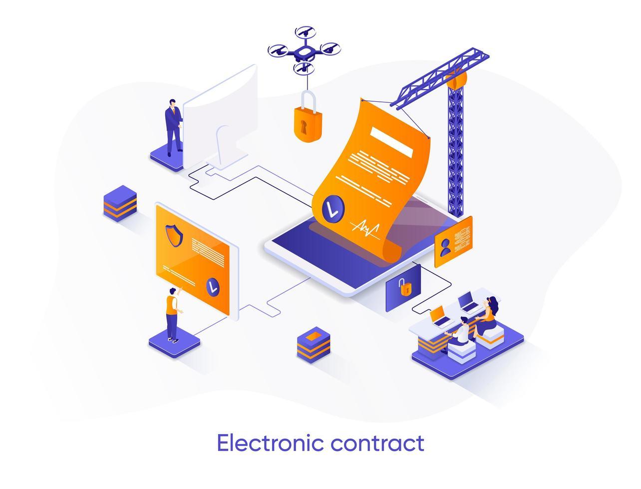 Electronic contract isometric web banner. vector