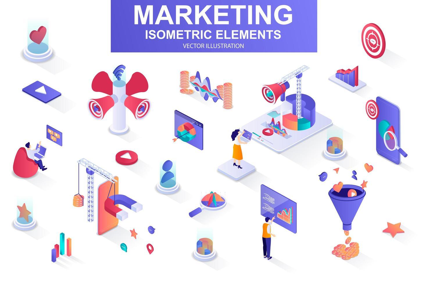 Marketing strategy bundle of isometric elements. vector