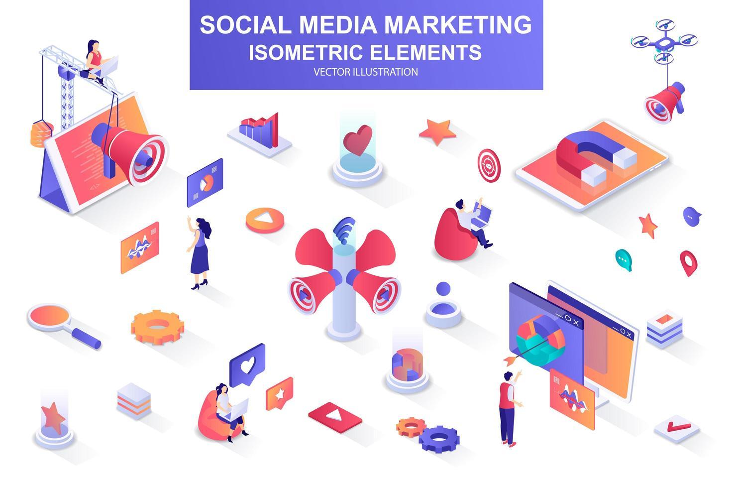 Social media marketing bundle of isometric elements. vector