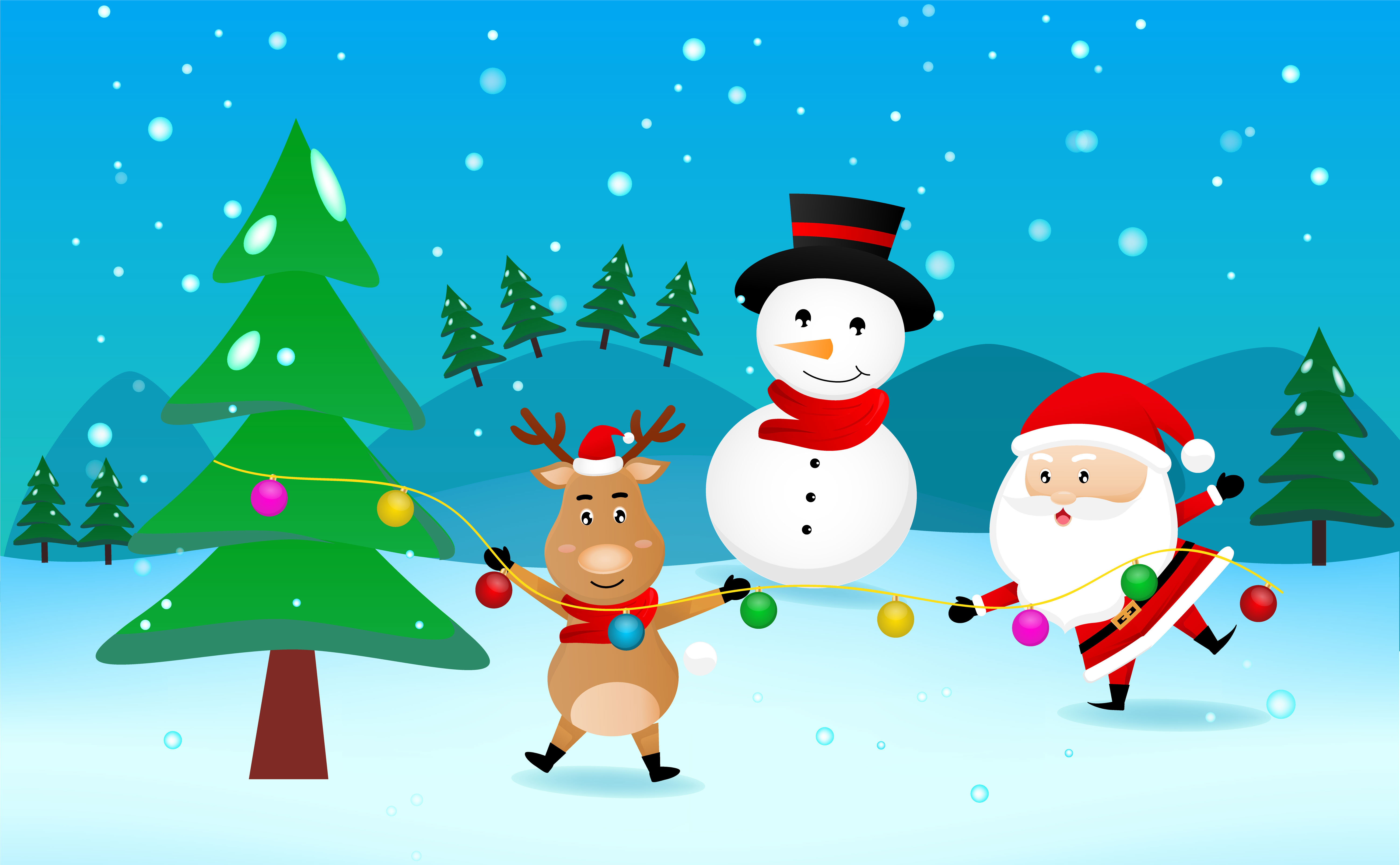 Cheerful Reindeer Santa And Snowman With Christmas Tree Download Free Vectors Clipart Graphics Vector Art