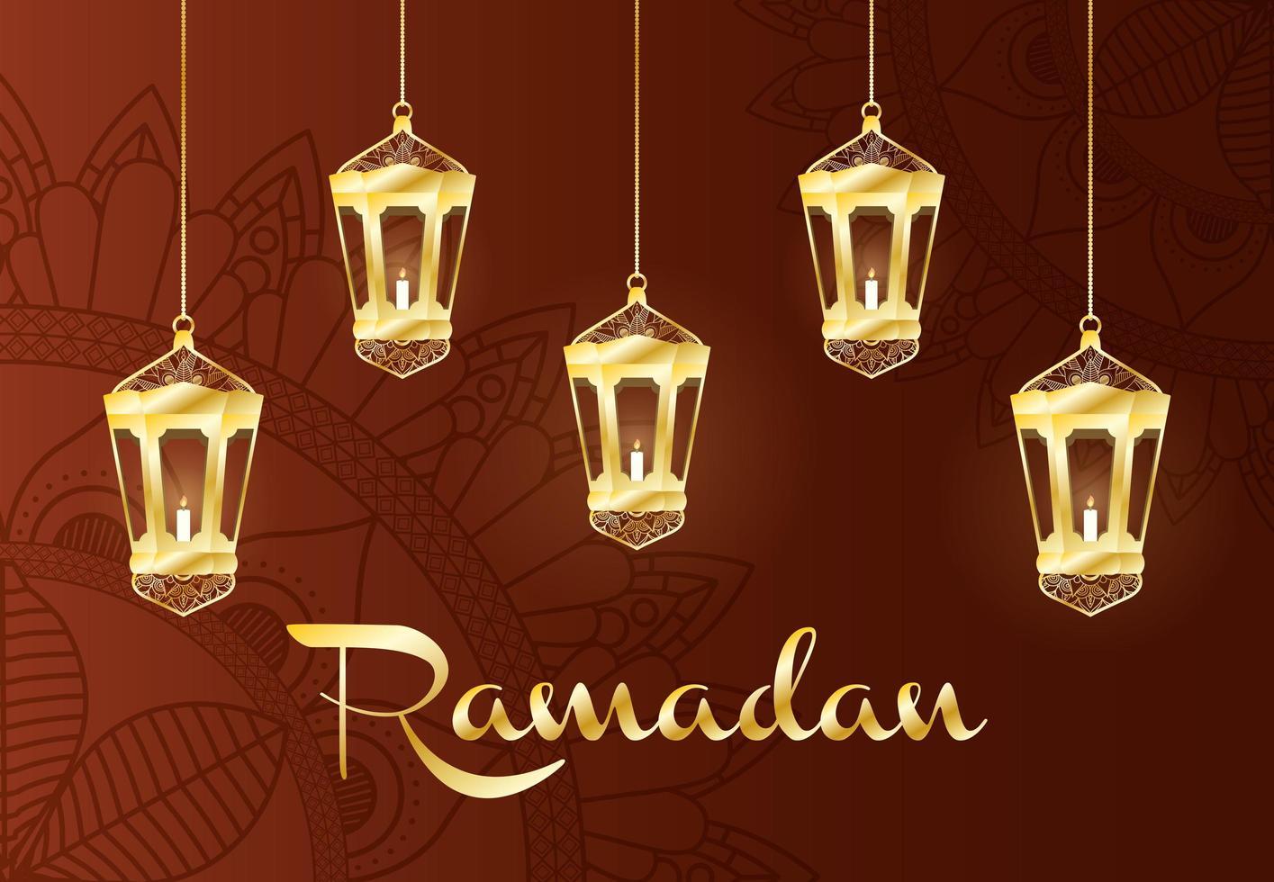 Banner de celebración de Ramadán con lámparas de oro. vector