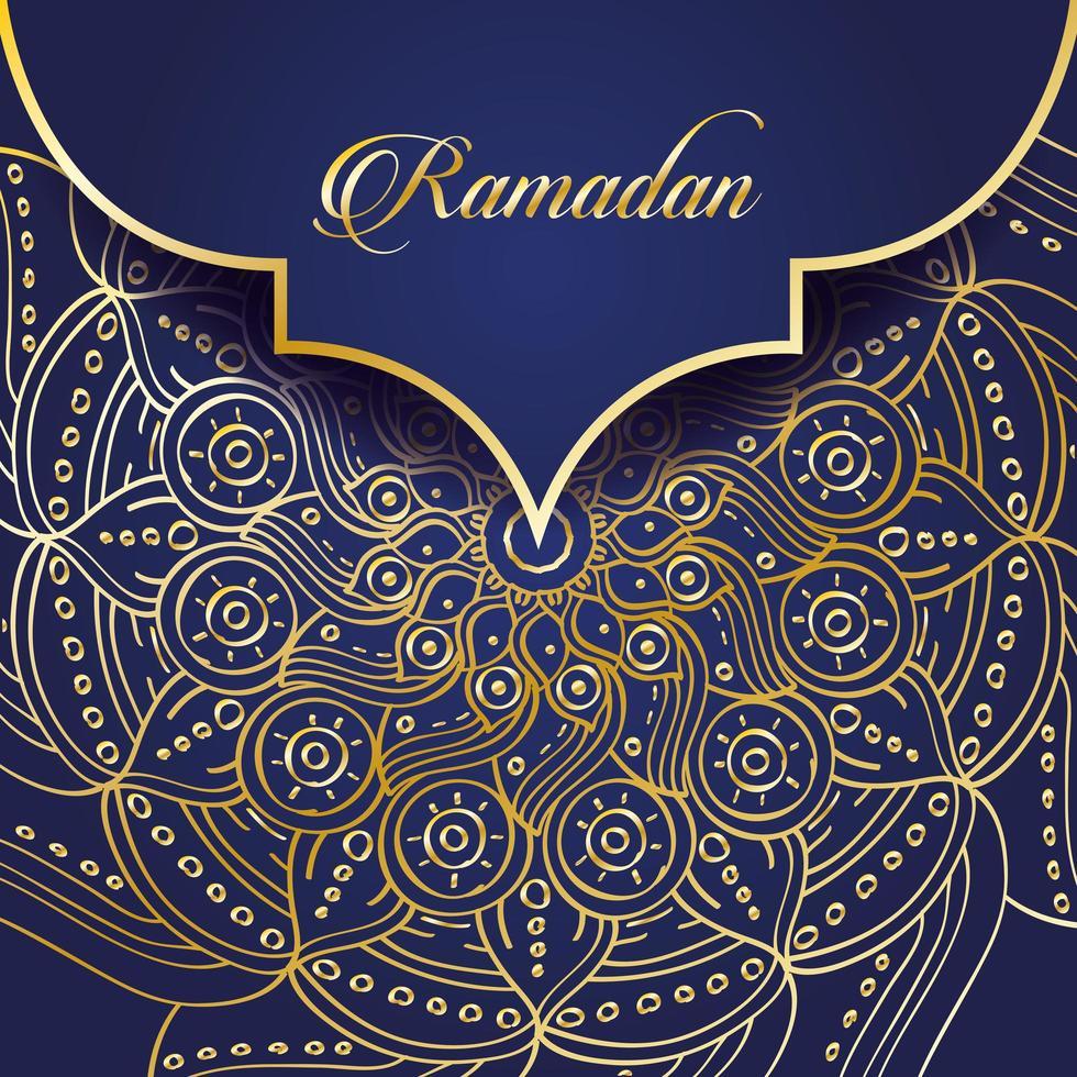 banner de celebración de ramadán con mandala de oro vector