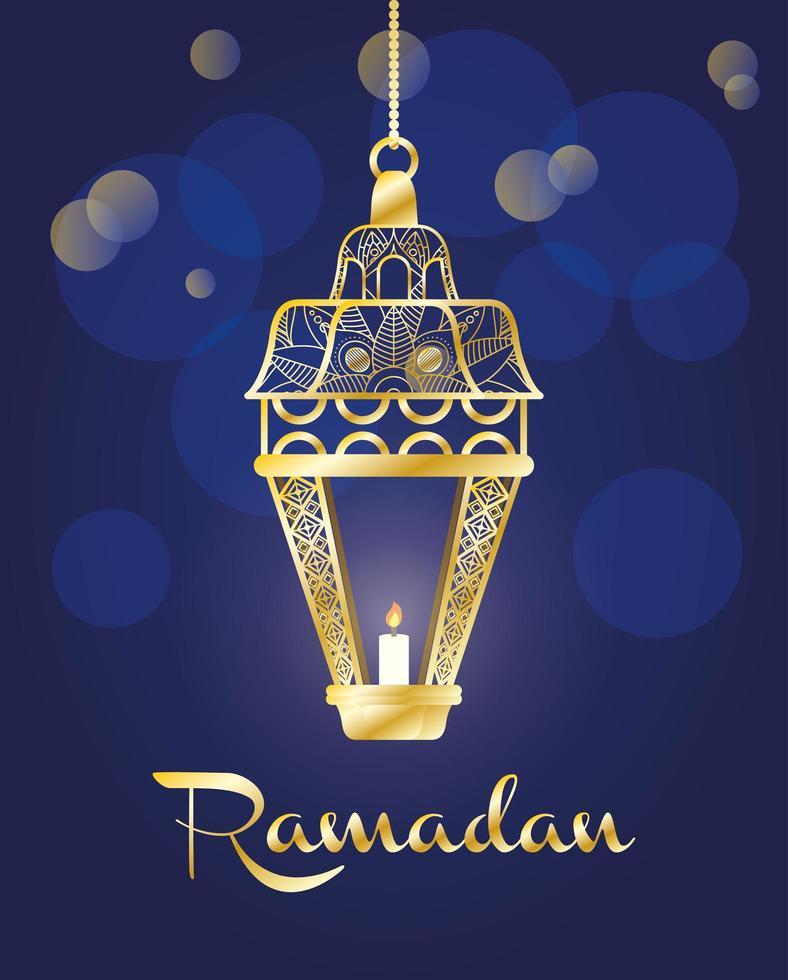 banner de celebración de ramadán con lámpara de oro vector